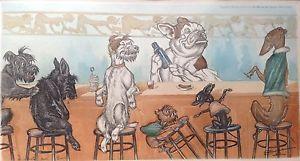 20f009a4cc4 Farblitho-Lithographie-Hund-Karrikatur-Disput-Bar-Boris-Klein-O-Klein -Paris-1938