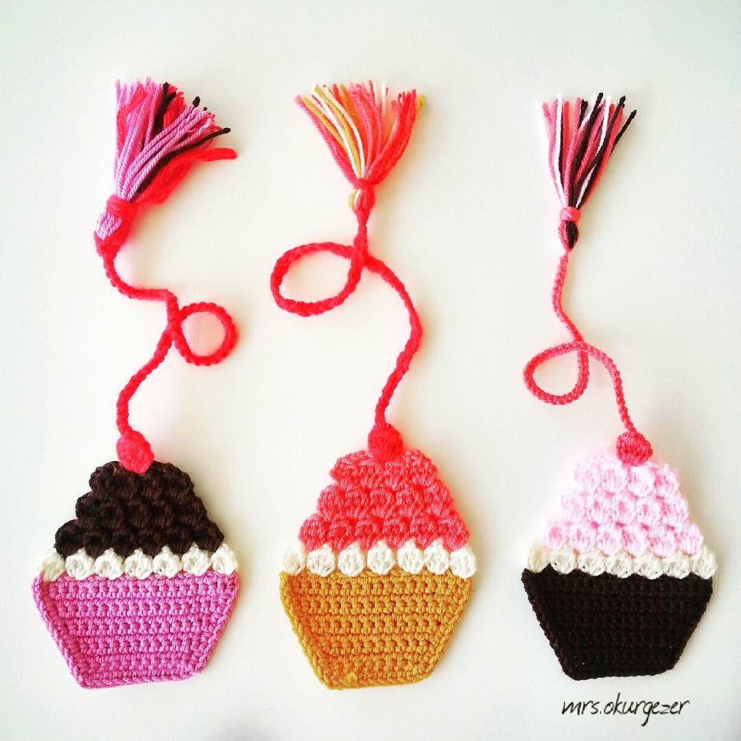 cupcakes #bookmark #kitapayracı #kitapayraci #crochet #örgü #tığişi ...