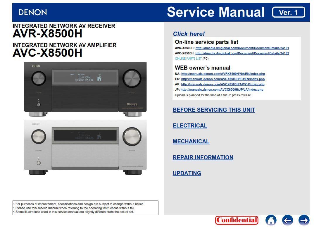 Denon AVR X8500H AVC X8500H original service manual and