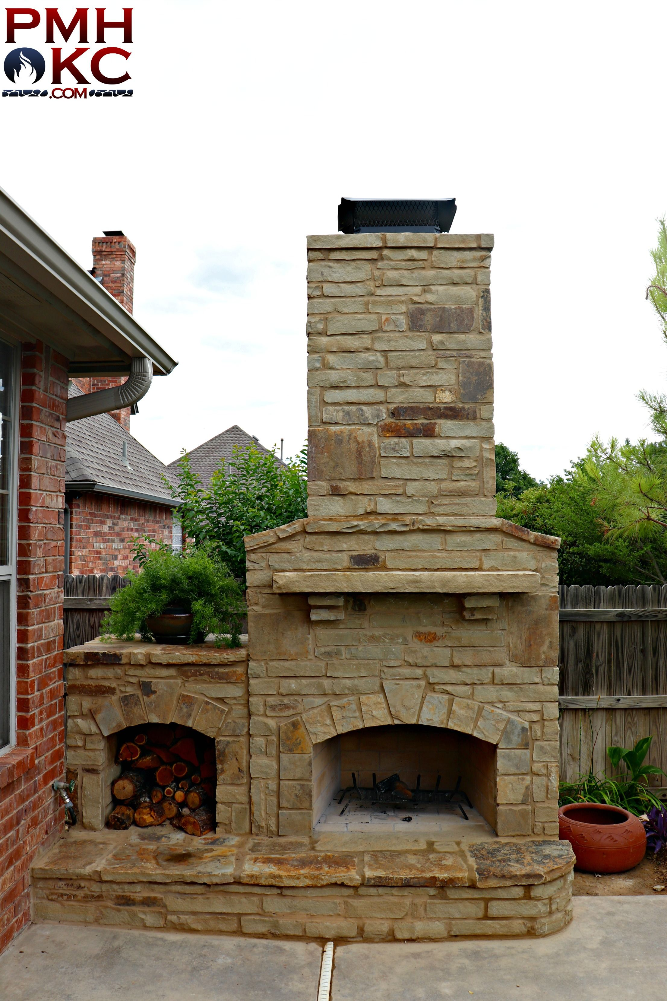 Stone Fireplace With Wood Storage Hole Fireplace Outdoor