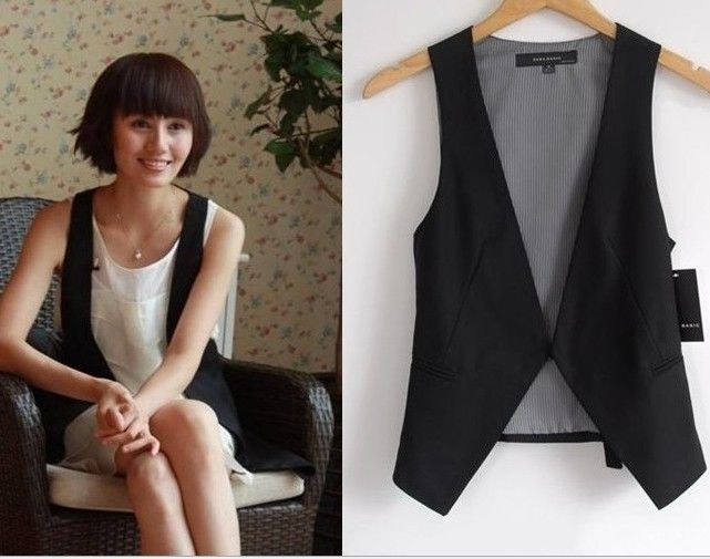 New Fashion summer Women WaistCoat School Girl Sleeveless Covered ...