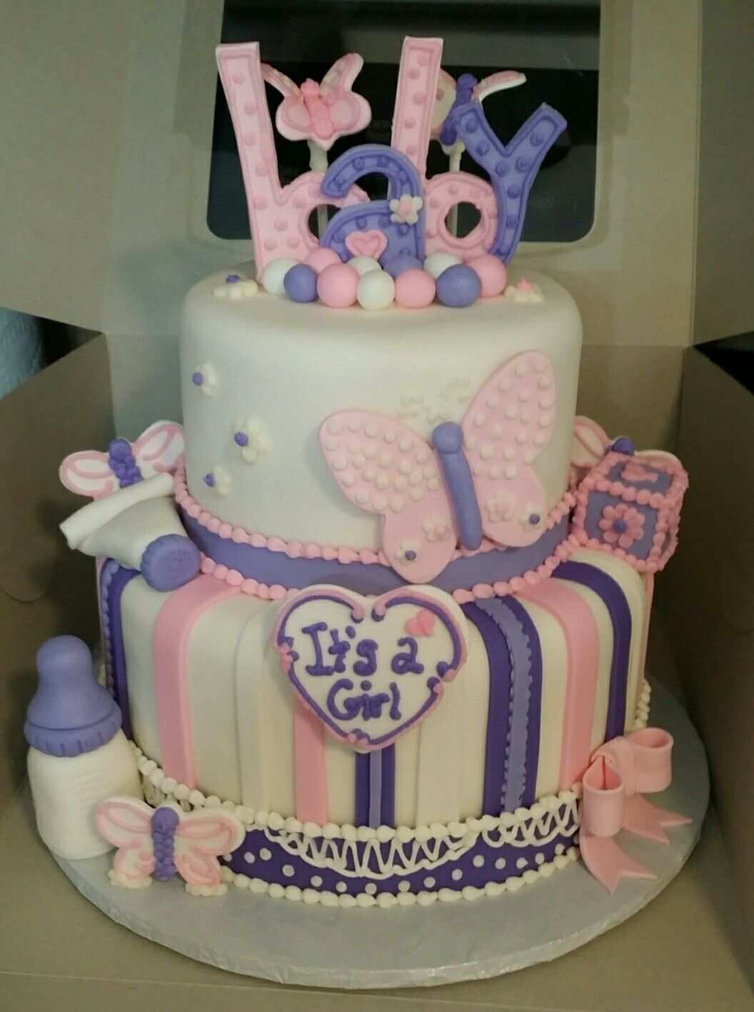 Butterfly Pink And Purple Baby Shower Cake Baby Shower Sweets