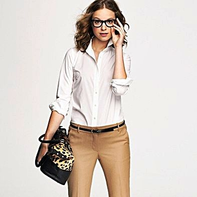 Women's button down shirt in white. http://www.formalworkattire ...
