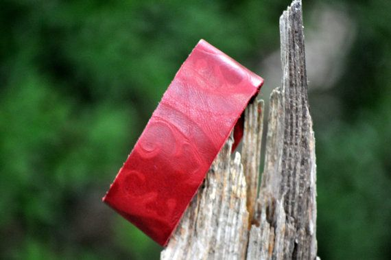 Red Cowhide leather bracelet embossed soft by souhernsistersjewels, $6.00