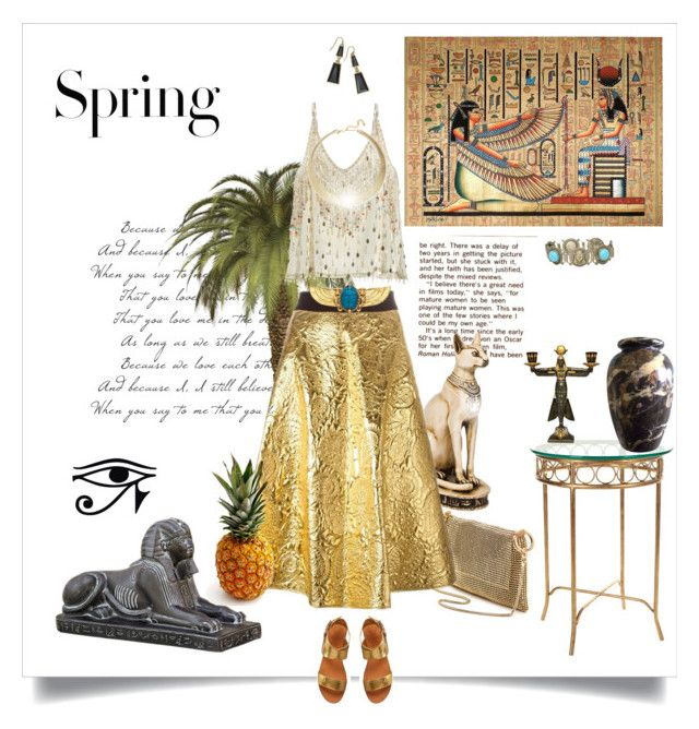 """""""Walking with the Pharaohs"""" by caitlynclark ❤ liked on Polyvore featuring Whiting & Davis, DKNY, H&M, Vince Camuto, Calypso St. Barth, Kenneth Jay Lane, Thalia Sodi and Safavieh"""