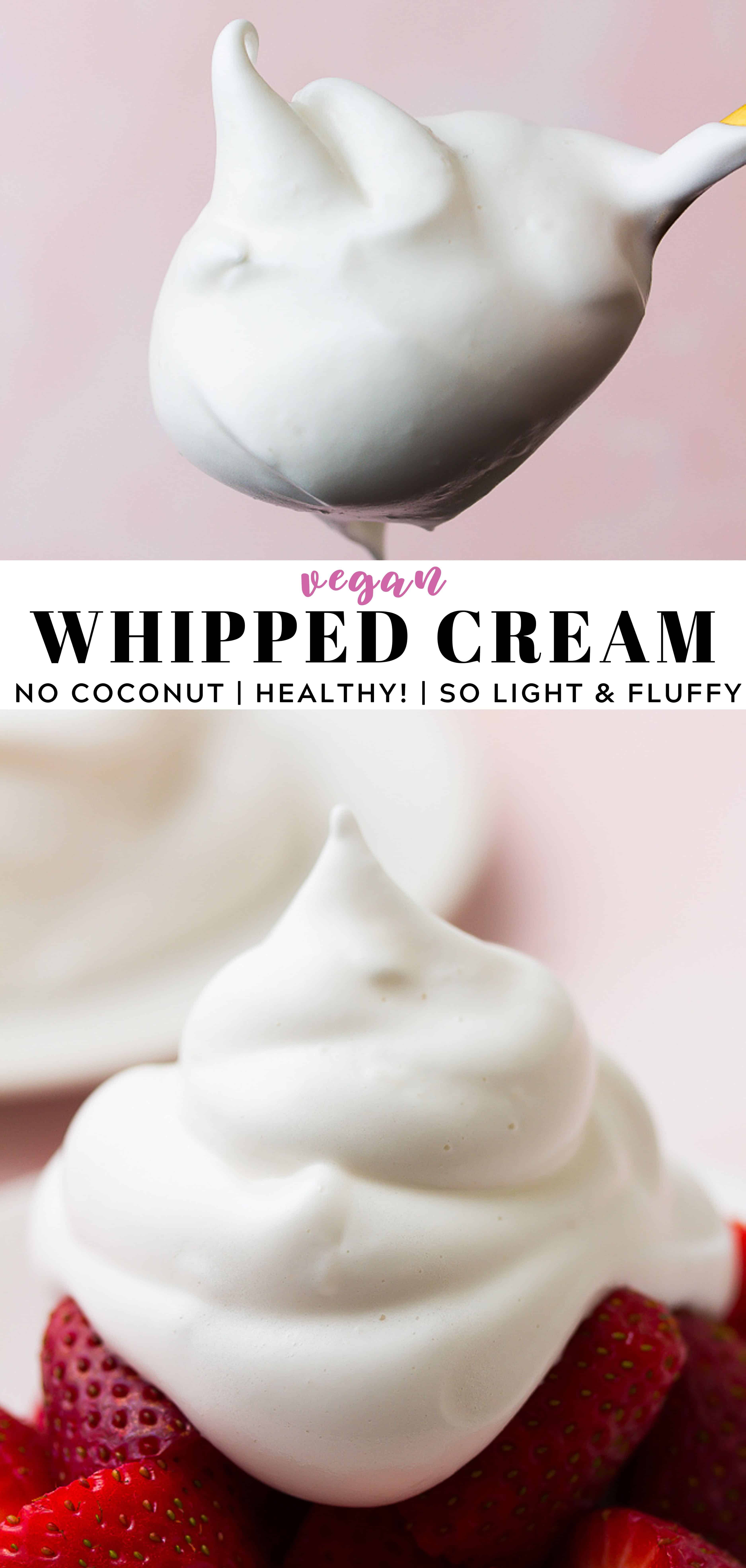 Easy Vegan Whipped Cream With No Coconut This Light And Fluffy Whipped Topping Is Hea Vegan Whipped Cream Recipes With Whipping Cream Dairy Free Whipped Cream
