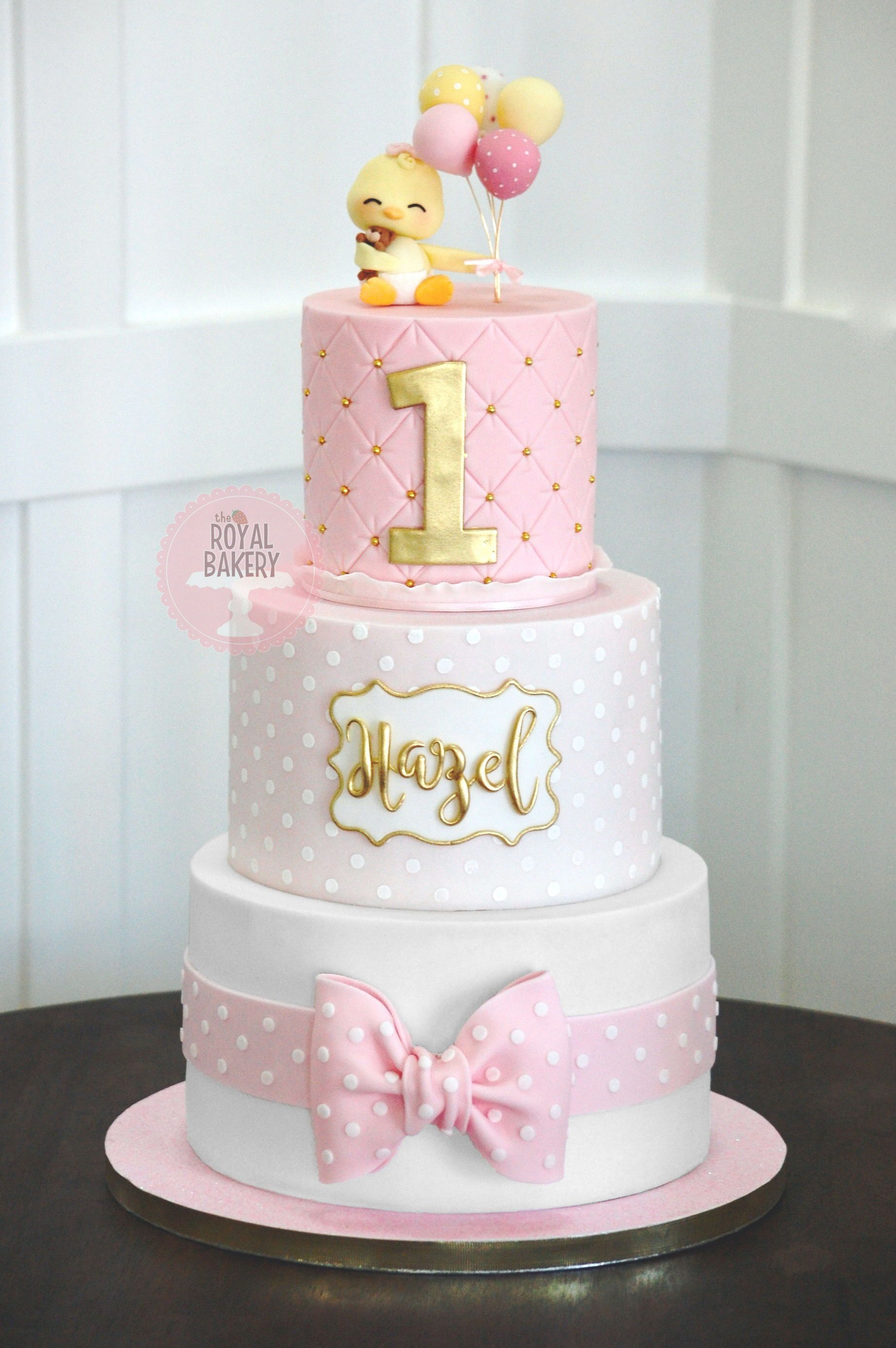 Fabulous Pink 1St Birthday Cake 1St Birthday Cake For Girls Baby Personalised Birthday Cards Veneteletsinfo