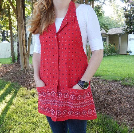 Red Border Print Apron Upcycled from Elizabeth by jofaulk1