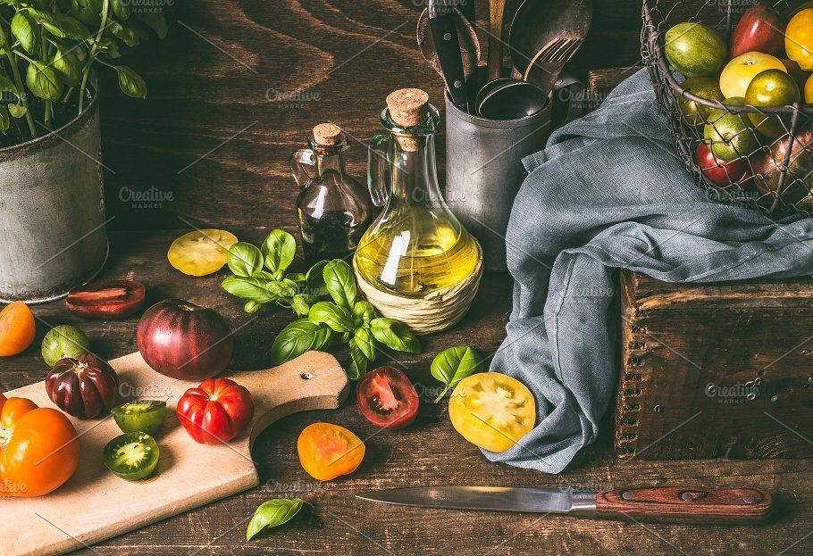 Colorful Tomatoes On Kitchen Table Kitchen Table Wooden Kitchen