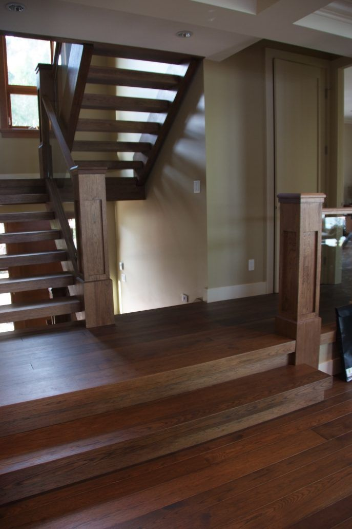 Best Wide Plank Hardwood Hickory Floating Treads Newel Posts And Handrails Schody 400 x 300