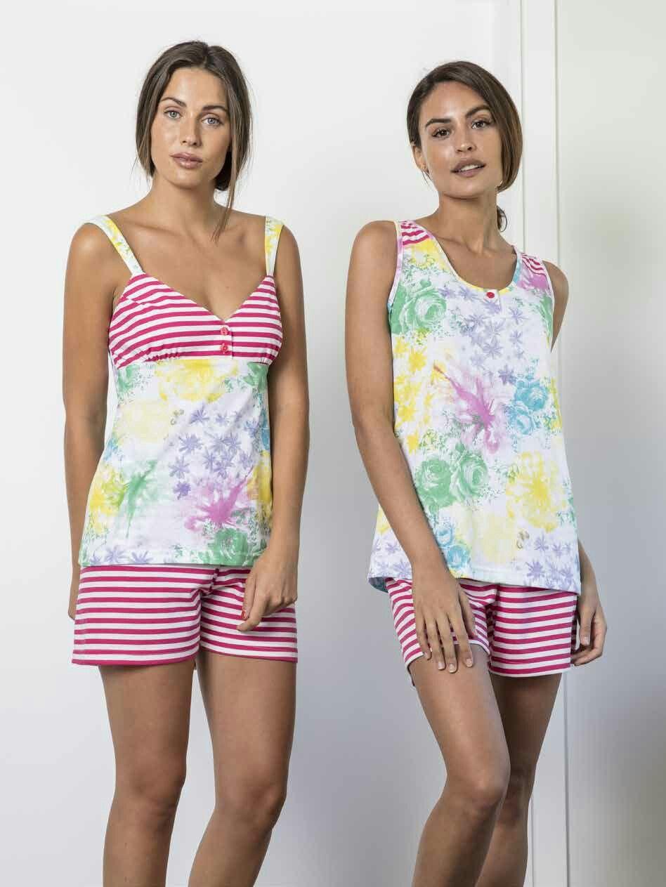 48d115c6a9a2 Pijama mujer verano en tejido jersey, con pantalón corto a rayas y camiseta  de tirantes estampada a rayas y flores Ref. 18V-0105-02 50% Algodón 50% ...