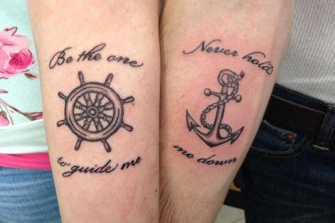 Matching Anchor And Wheel Tattoo