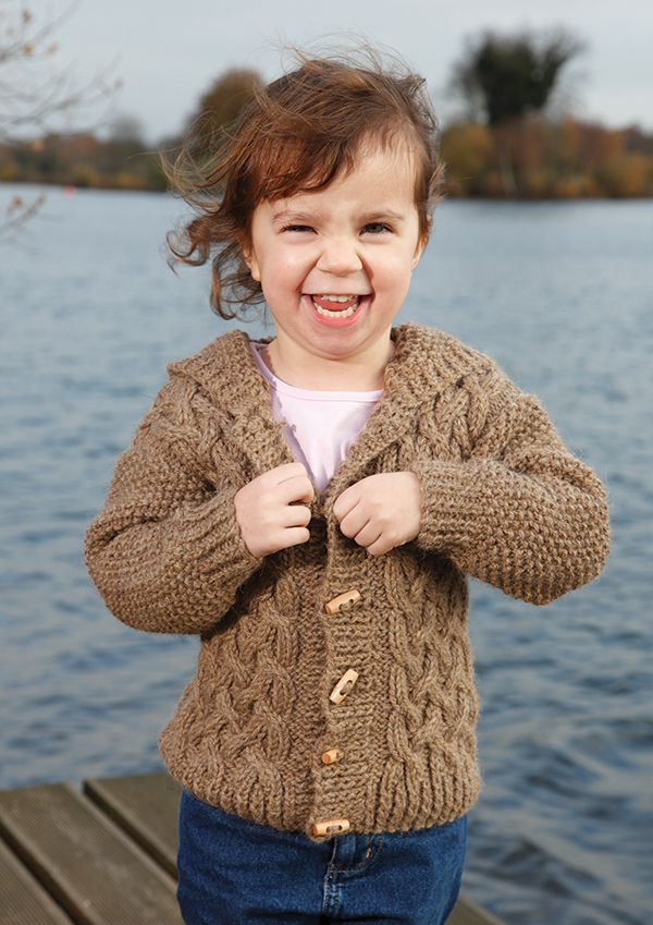 Childs cable and hood cardigan -free knitting pattern by Artesano ...