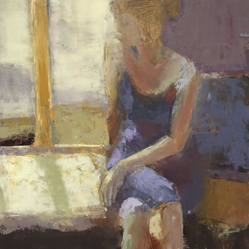"Pierre-Jean Maurel - Melinda CootsonaWindow Seat"" 16 x 16 Oil and Cold..."