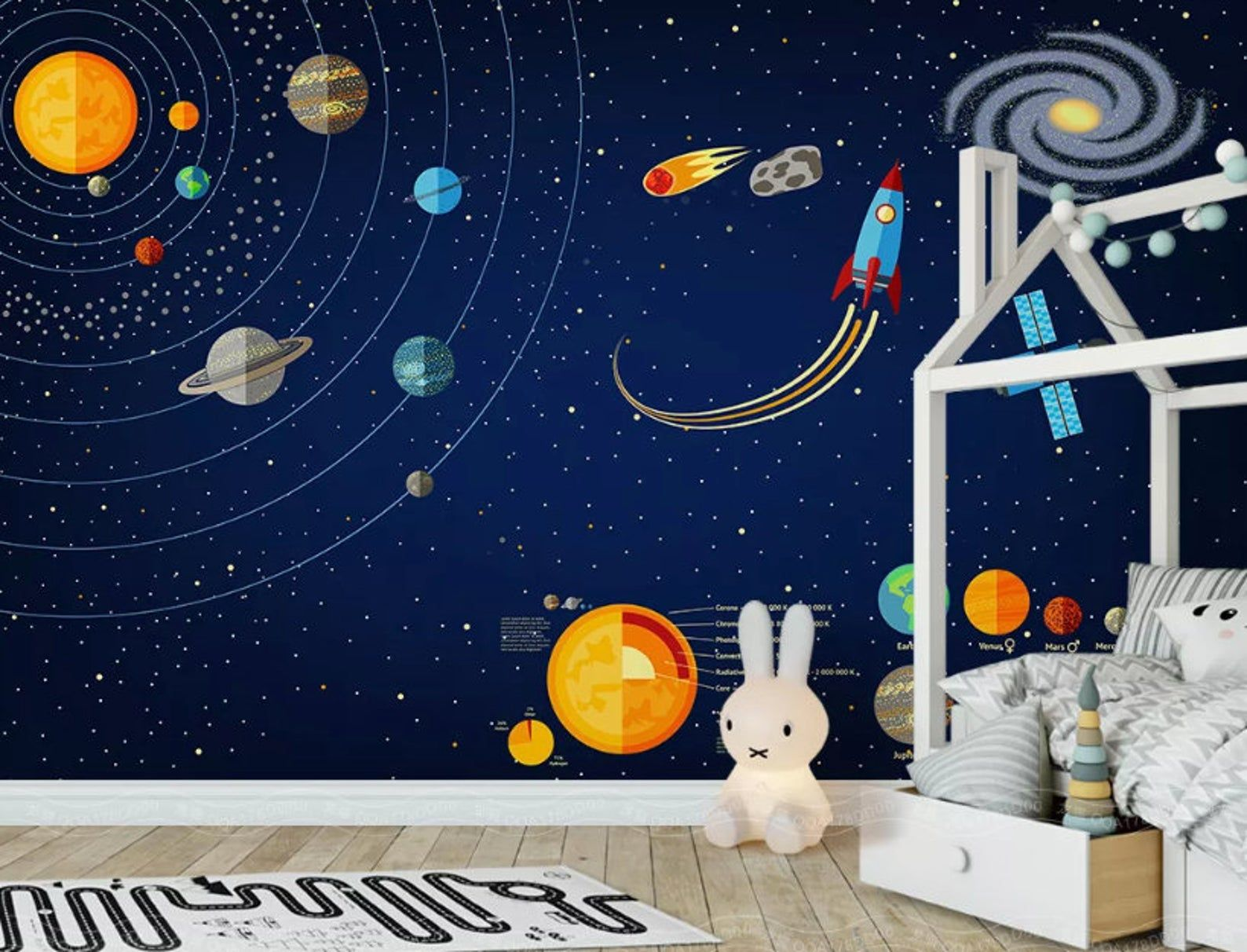 3D Space Universe Papier peint Childrens Room Background Wall Painting Kid Room
