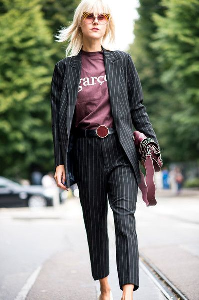 Pinstripes - The Fearless Street Style at Milan Fashion Week S'17 - Photos