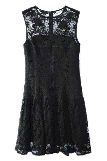 ROMWE   All Over Lace Zippered Black Dress, The Latest Street Fashion #ROMWEROCOCO