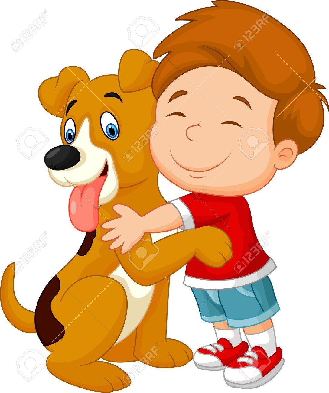 34098918 De Dibujos Animados Feliz Muchacho Joven Con Amor Abrazando A Su Perro Mascota Foto De Perros Para Ninos Dibujos De Animales Tiernos Trenes Para Ninos