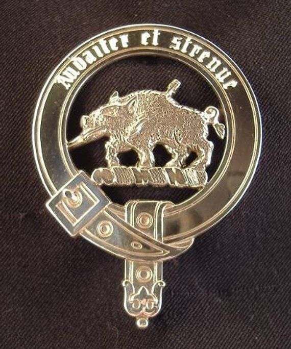 Pollock Scottish Clan Crest Badge in Solid Sterling Silver