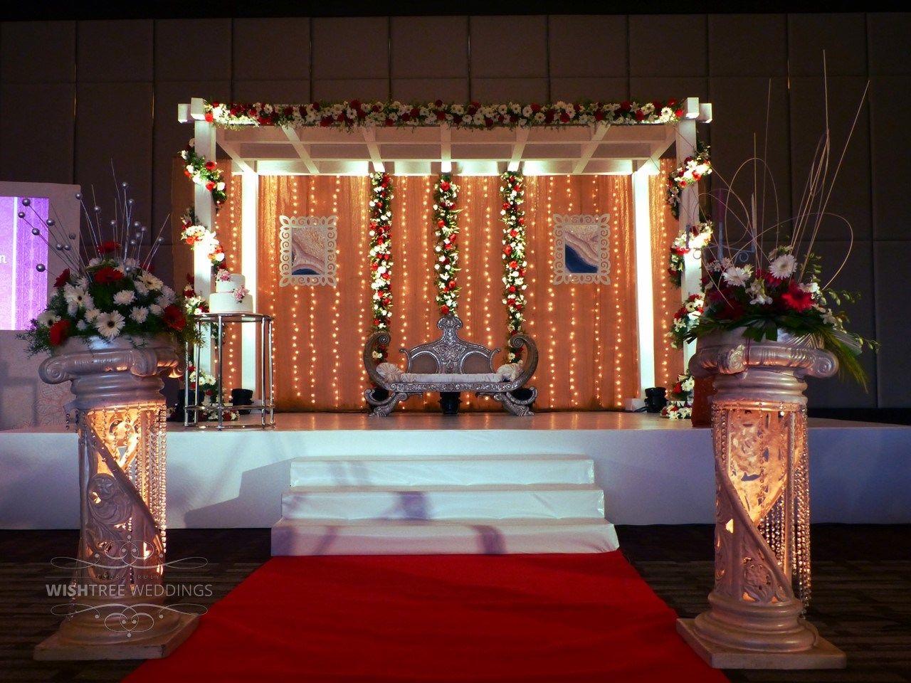 Semi floral contemporary stage set for reception indianweddings semi floral contemporary stage set for reception indianweddings stages theme weddings by wishtree weddings junglespirit Images
