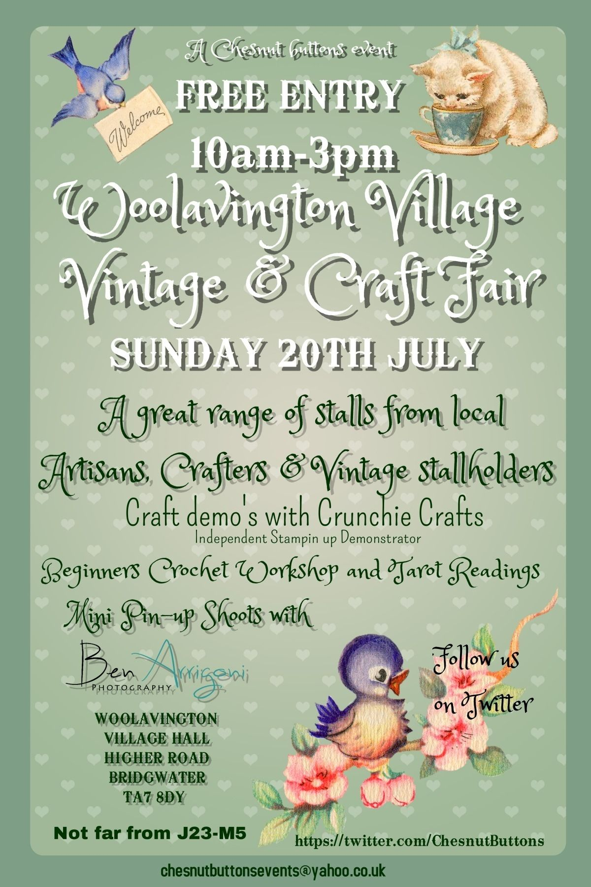 This will be a fantastic day!! lots going on crochet and craft demos, tarot readings, a tearoom,pin up style photo shoots and loads of vintage and handmade stalls