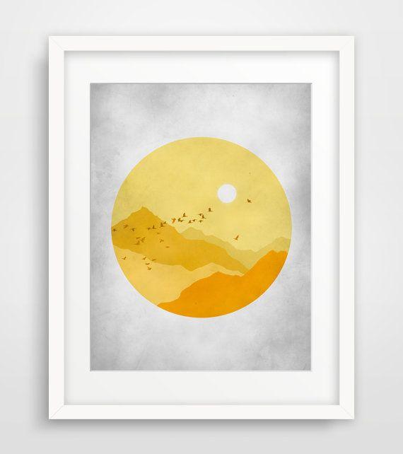 Mid Century Wall Art, Mountain Print, Wall Art for Nursery, Yellow ...