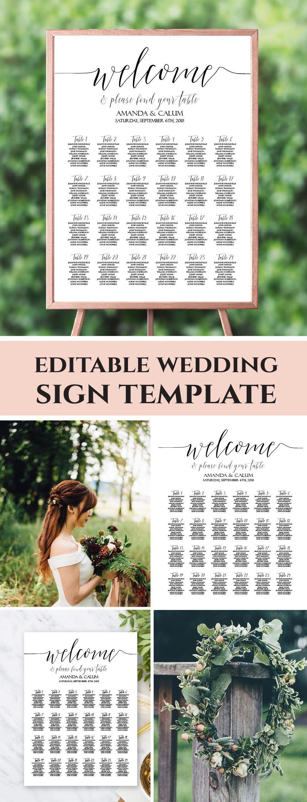 Modern Seating Chart Wedding, Elegant Seating Chart Template ...