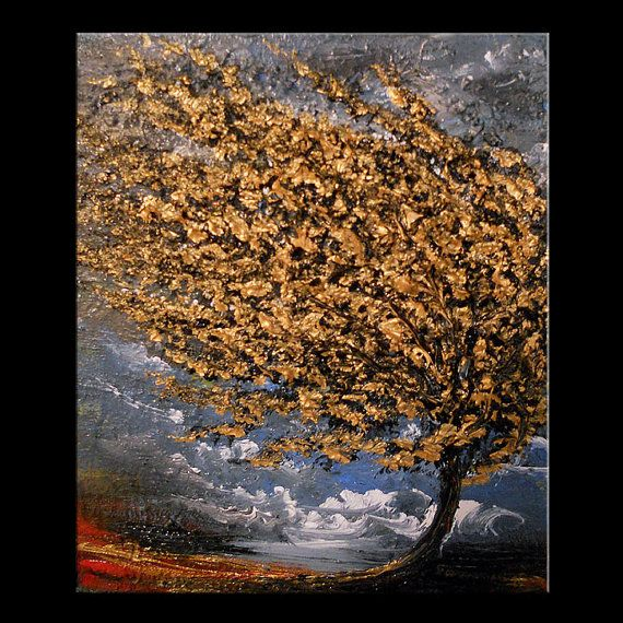 metallic gold tree art original abstract painting tree painting abstract landscape 11 x 14