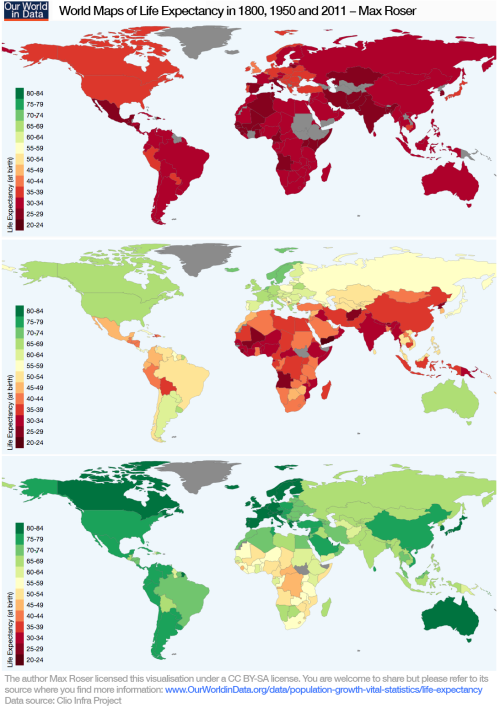 World Maps of Life Expectancy in 1800, 1950, and 2011 | Maps | Map ...