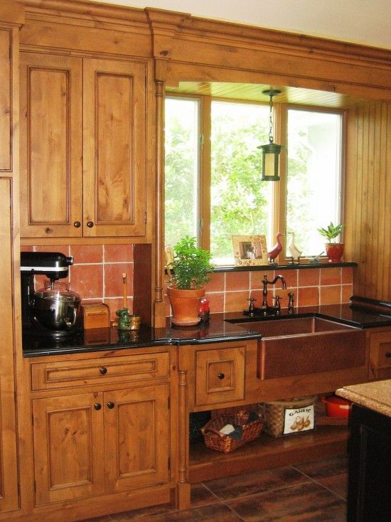 Copper Sink Knotty Alder Cabinets Kitchen Cabinets