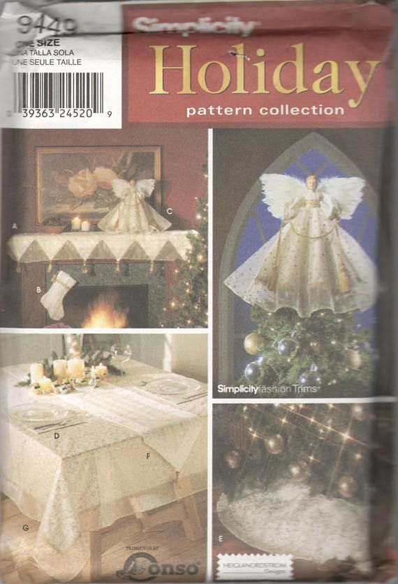 Simplicity 9449 Christmas Tree Skirt Angel Topper Stocking