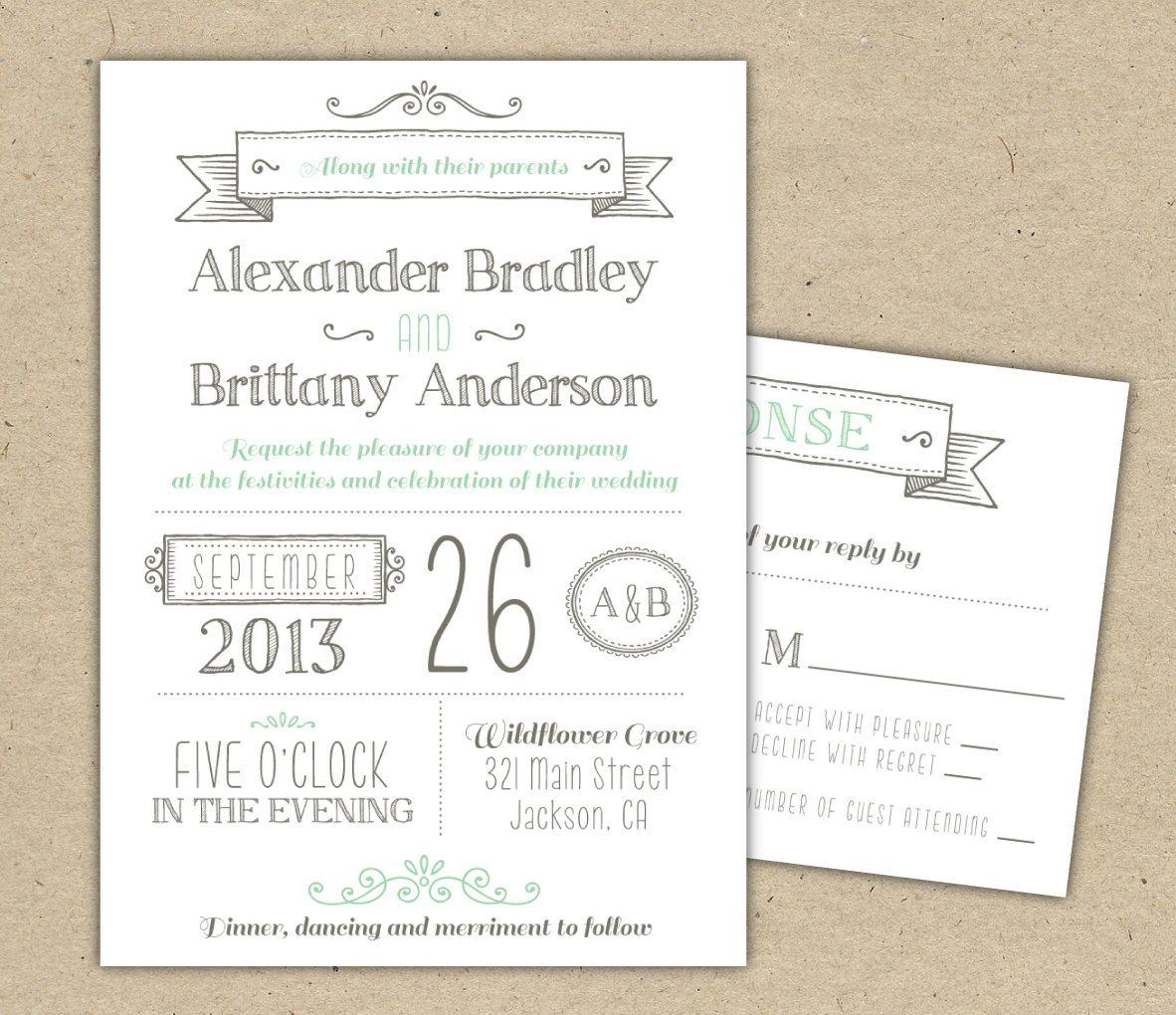 Wedding Invitation (1041) SAMPLE. Modern invitation template ...