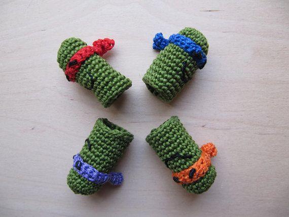 Set Teenage Mutant Ninja Turtle Finger Puppet TMNT, Amigurumi Finger Puppets, Ninja Turtle Crochet Finger Puppets, Crochet Toys