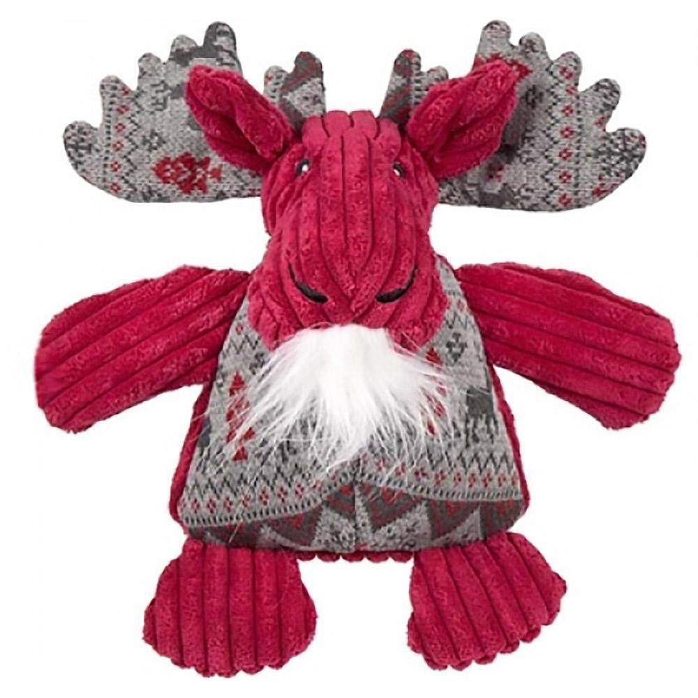 Hugglehounds Holiday Chubbie Buddie Plush Dog Toy Moose With