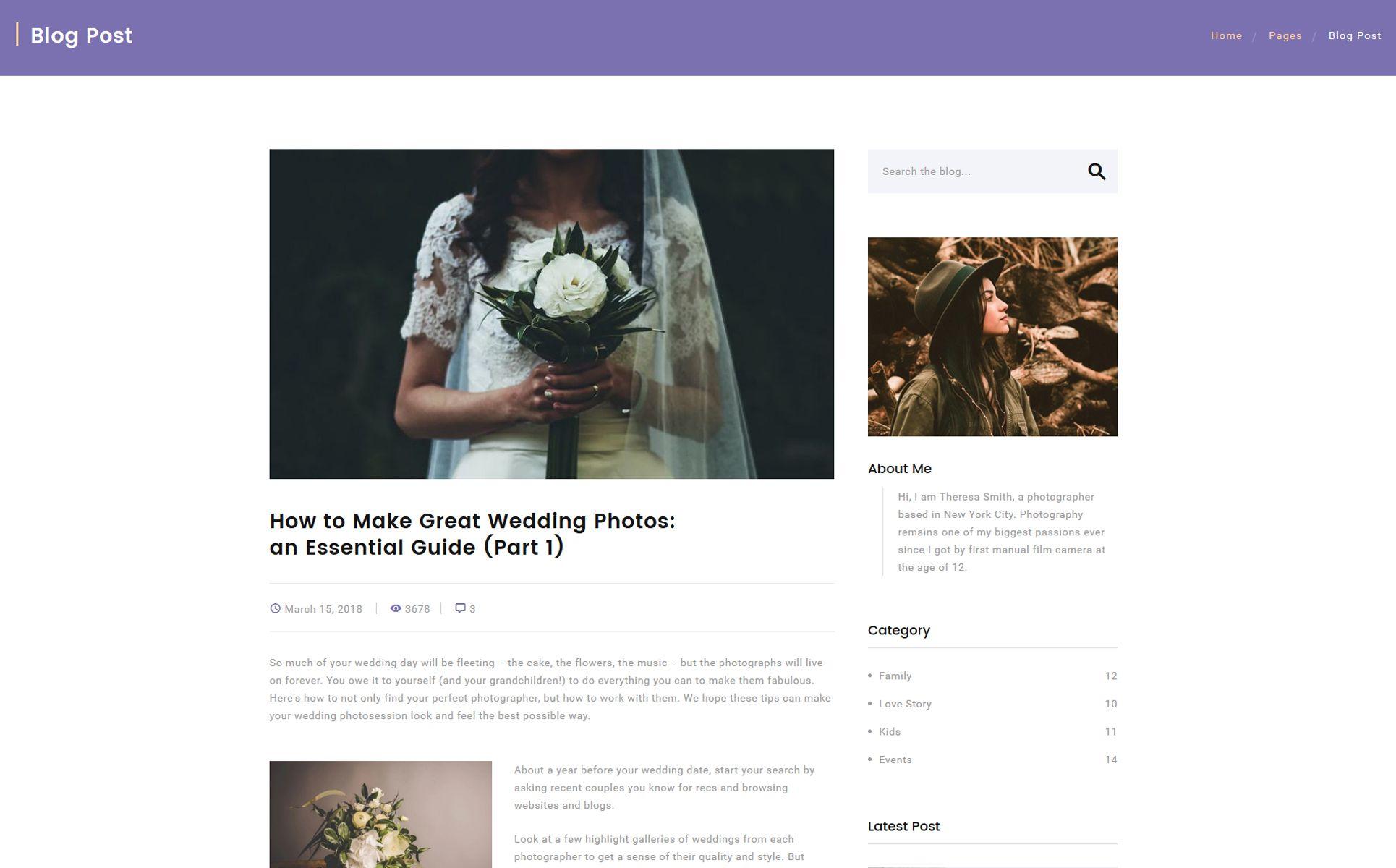 Corallo studio photographer portfolio multipage website
