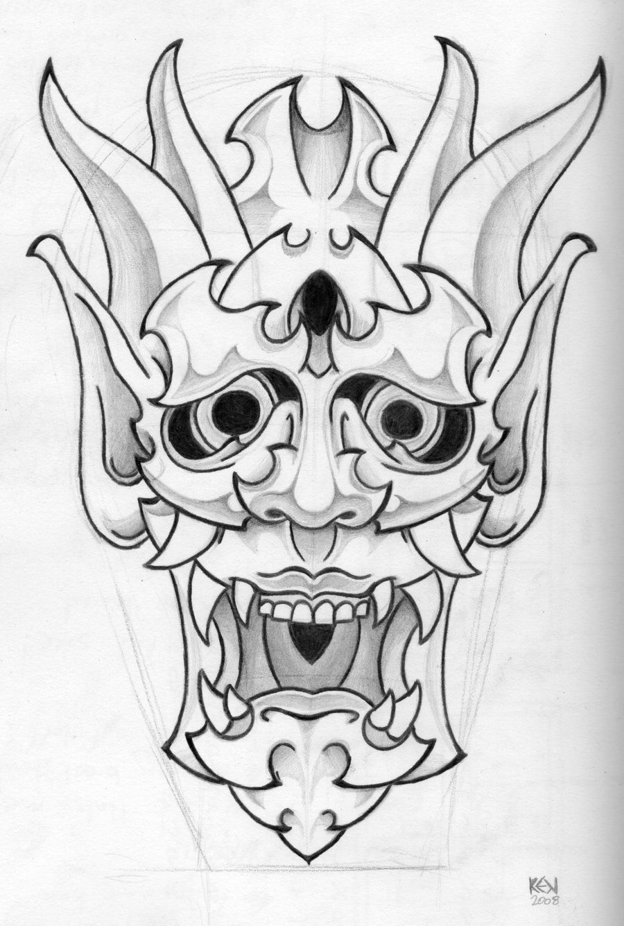 Japanese mask outline
