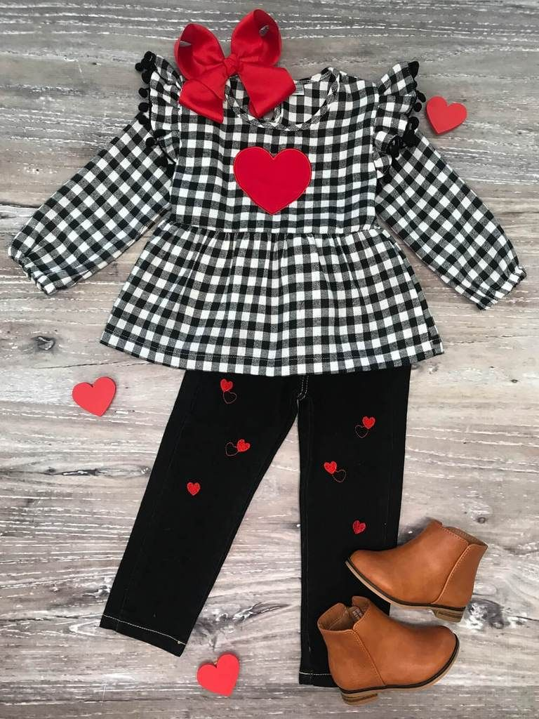 Girls Toddler Boutique Jeans Valentines Day Outfit Plaid Heart Ruffle Denim Set