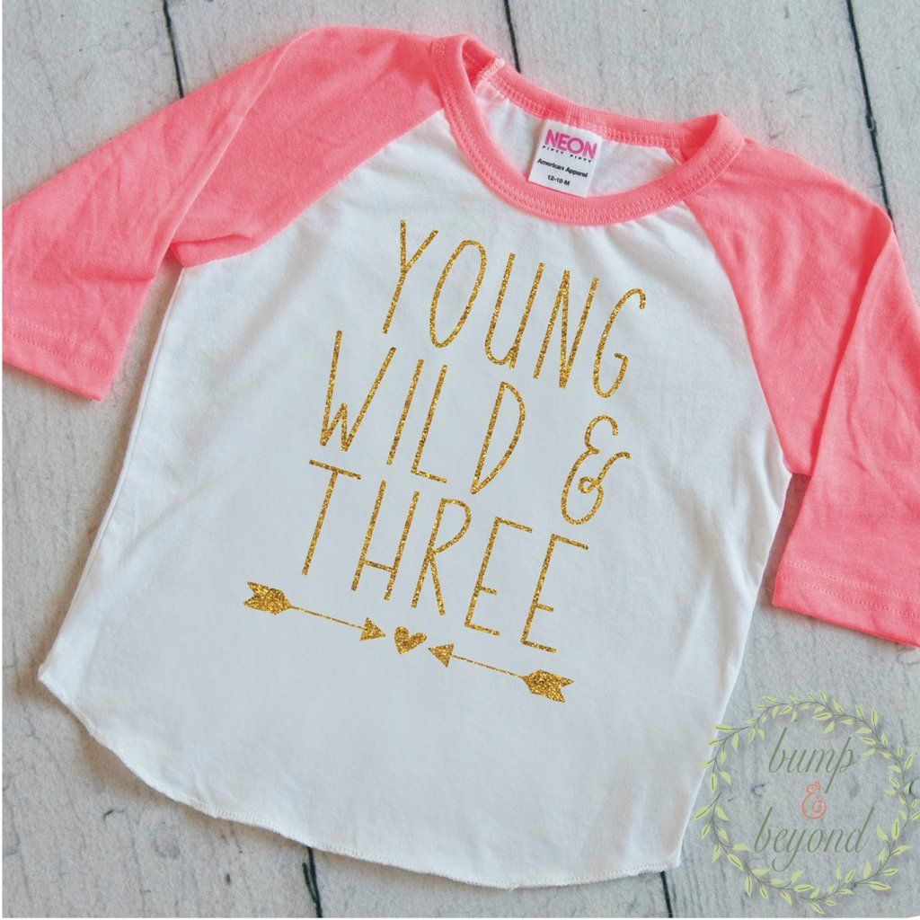 3rd Birthday Outfit Girl Young Wild And Three Shirt Toddler 3 Year Old Third 136