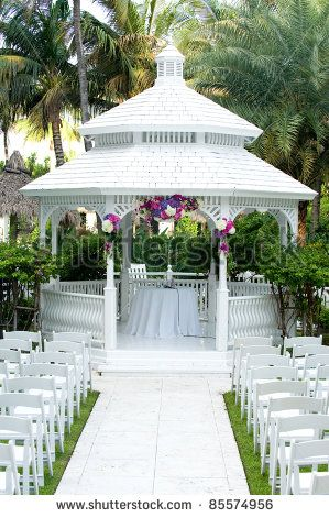 Beautiful flower gardens with gazebos beautiful white for Outdoor wedding gazebo decorating ideas