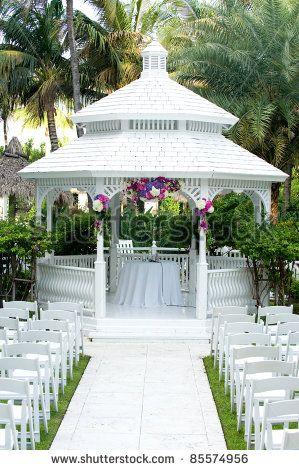 Beautiful flower gardens with gazebos beautiful white for Outdoor wedding gazebo decorating ideas