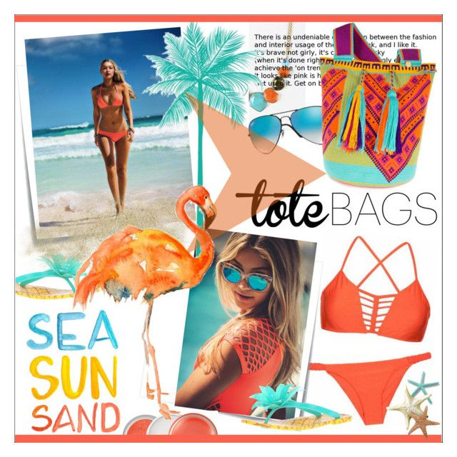 """""""In The Bag * Beach Totes"""" by calamity-jane-always ❤ liked on Polyvore featuring Luli Fama, Kate Spade, Post-It, Seafolly, Ray-Ban, Dolce&Gabbana, Clinique, katespade, fashionset and gigihadid"""