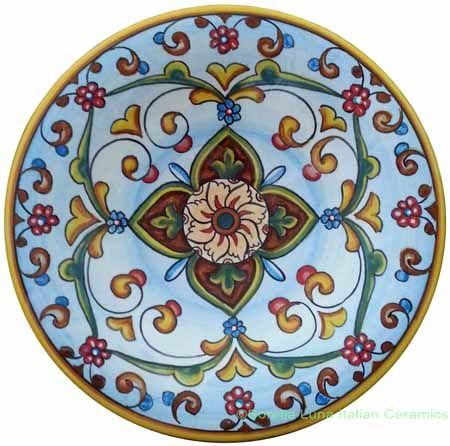 ceramic majolica plate light blue flower 20cm - Franco Mari. We are excited to be carrying a few select pieces from Franco Mari!