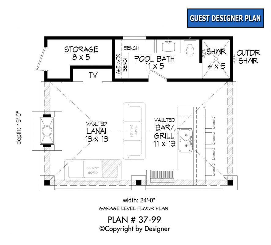 Pool House Plan 37 99 Garrell Associates Inc Pool House Plans Pool House Bathroom Pool House