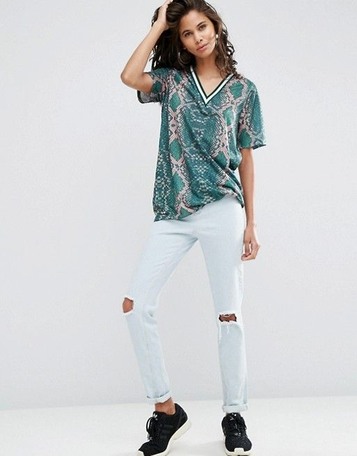 ASOS Tall | ASOS TALL T-Shirt in Bright Snake Print with Stripe Tipping in Longline