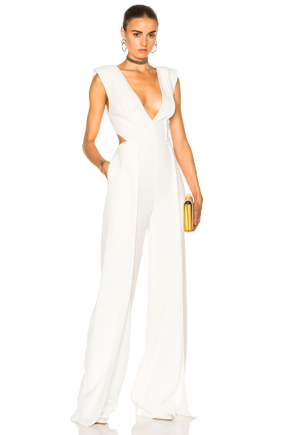 Brandon maxwell v neck jumpsuit in white brandon maxwell