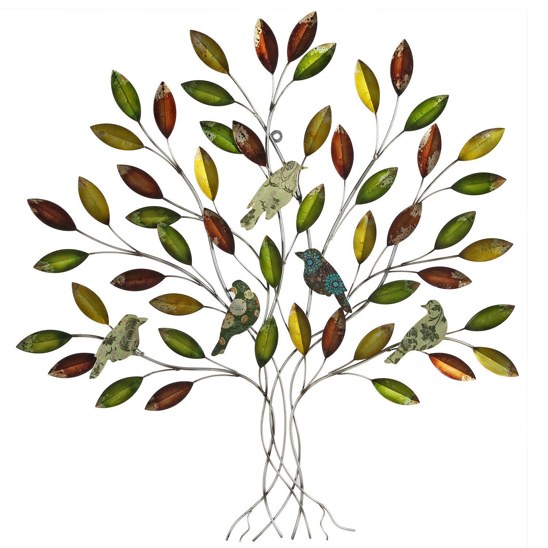 Earth De Fleur Homewares   Lacquered Leaf With Birds Metal Tree Wall Decor