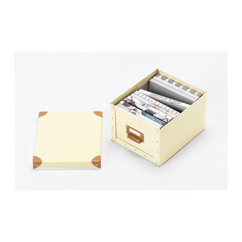 FJÄLLA Caja con tapa - hueso - IKEA