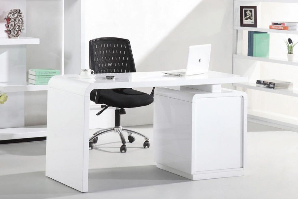 Beautiful Courbe 14m White High Gloss Desk For The Office