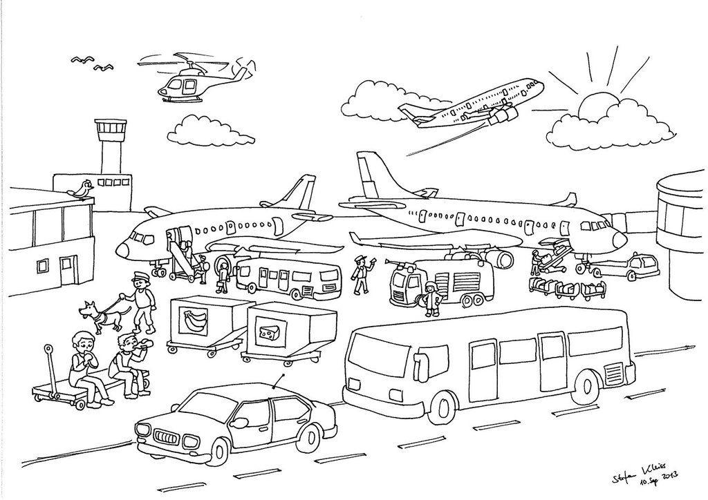 Ausmalbilder Flughafen Kostenlos   Kinder Ausmalbilder