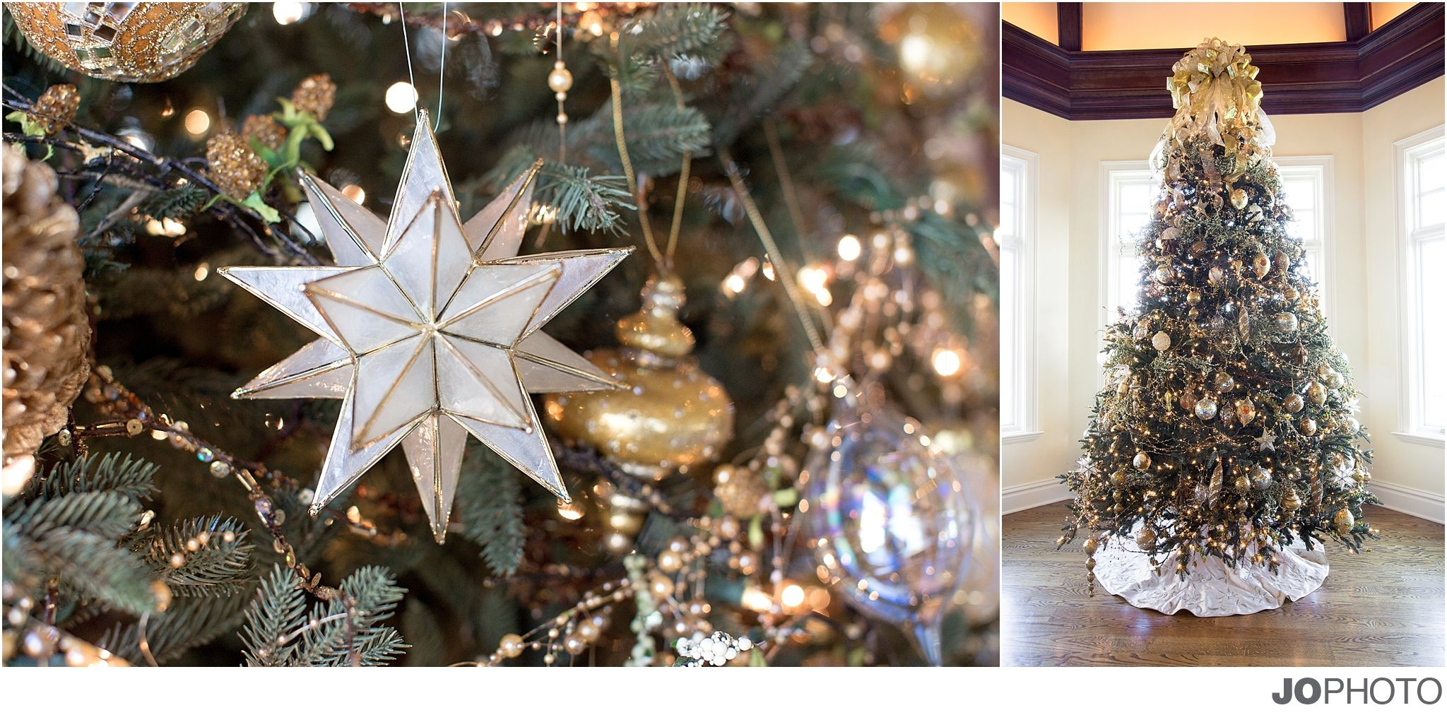 Christmas star lisa foster floral christmas tree wreath for Engagement christmas tree ornaments